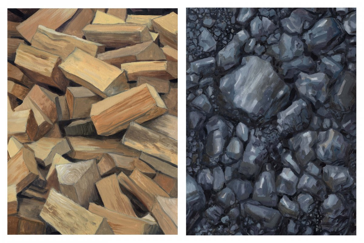 a god in the hearth a visual essay on fire and fossil fuels   diptych 5 fire wood and coal by david carmack lewis