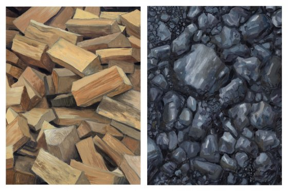 """Diptych #5 (Fire Wood and Coal)"" by David Carmack Lewis, oil on paper, 12"" x 16"" each"