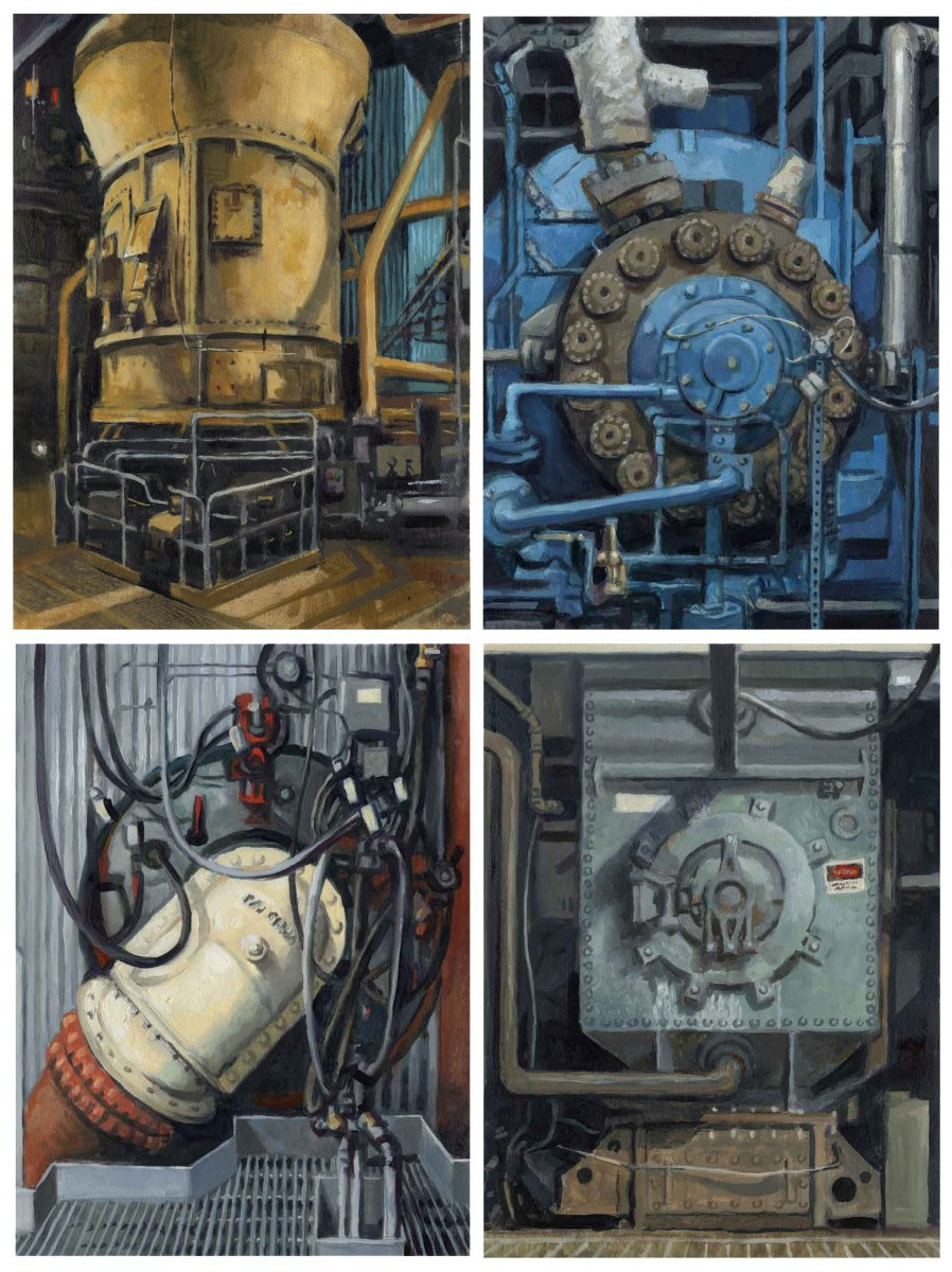 """Four Studies of the Coal Fired Power Plant at Boardman, Oregon"" by David Carmack Lewis, oil on paper, 12"" x 16"" each"