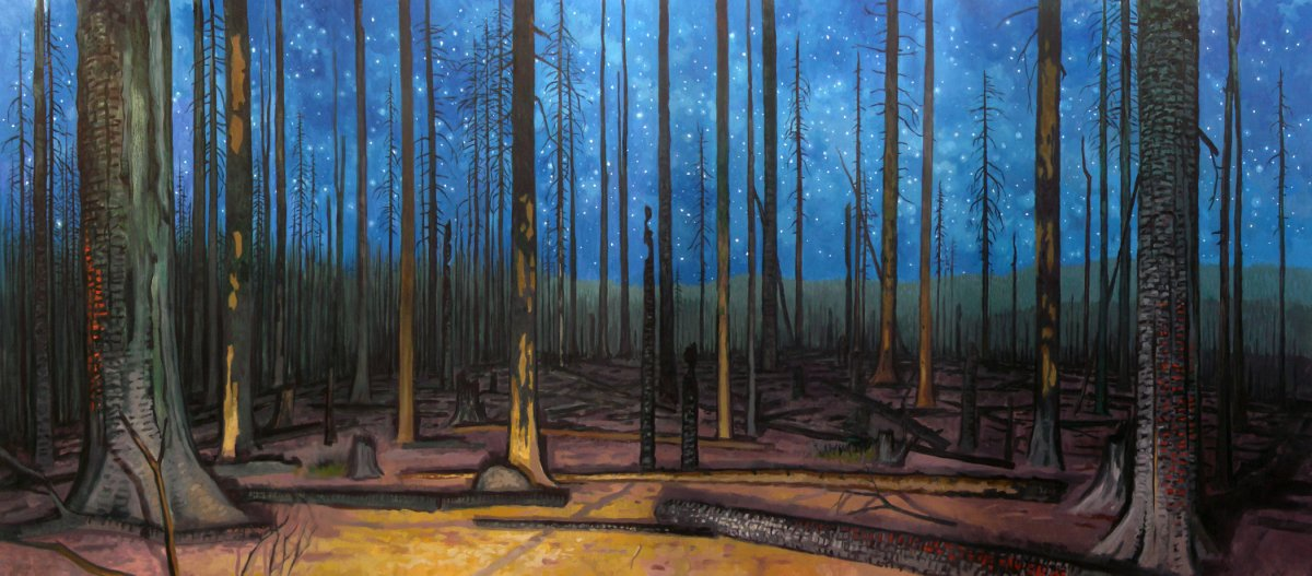 """Burn (Cascade Creek Fire, Mt. Adams WA, 2012)"" by David Carmack Lewis, oil on canvas, 114"" x 48"""